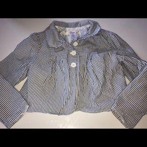 Gymboree seersucker blazer jacket blue stripe 6